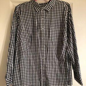 Talbots navy/white gingham button down shirt, 22W